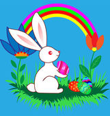 Easter Bunnyes with eggs, flowers and rainbow — Stock Vector
