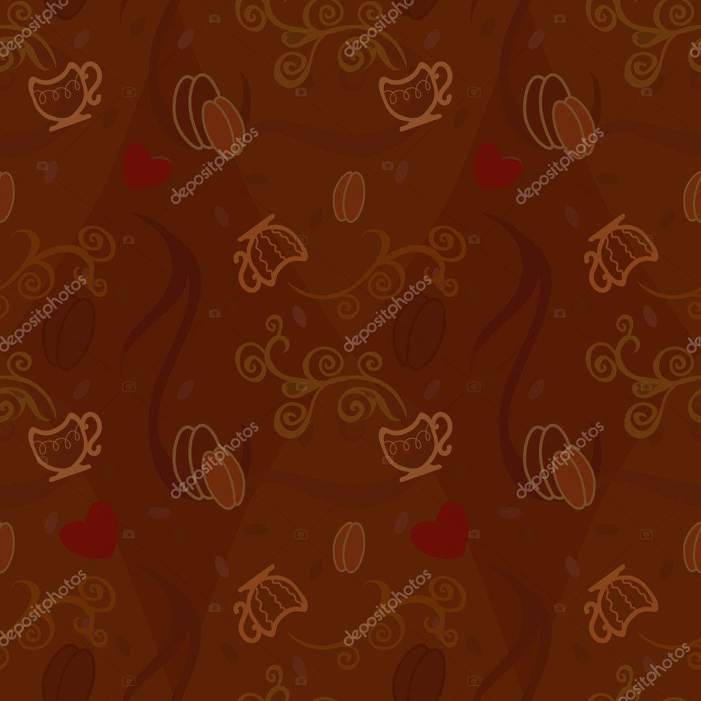 Seamless pattern  with cofee, cap and hearts  Stock Vector #4869253