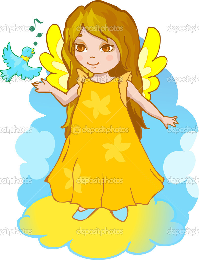 Cute angel cartoon vector stock illustration