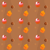 Seamless texture - cupcakes and chocolate Sweets — Stock Vector
