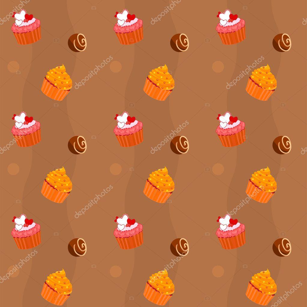 无缝纹理的蛋糕和巧克力糖果 — 矢量图片作者 flamewave