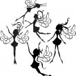 Stock Vector: Fairies Silhouettes