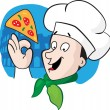 The chief of cooks with a pizza - Stockvectorbeeld