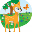 Stock Vector: Young deer with butterfly