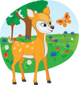 Young deer with a butterfly — Stock Vector