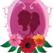Romantic silhouette — Stock Vector
