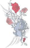 Fantasy design met gryphon en rozen — Stockvector