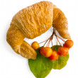 Croissant with a sprig of apple — Stock Photo