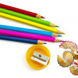 Stock Photo: Colored pencils with sharpener