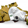 Gas mask with carrying case and a radiometer — Stockfoto