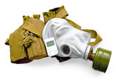 Gas mask with carrying case and a radiometer — 图库照片