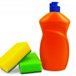 Bottle of detergent and two sponges — Stock Photo
