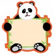 Stock Vector: Panda holding a message board