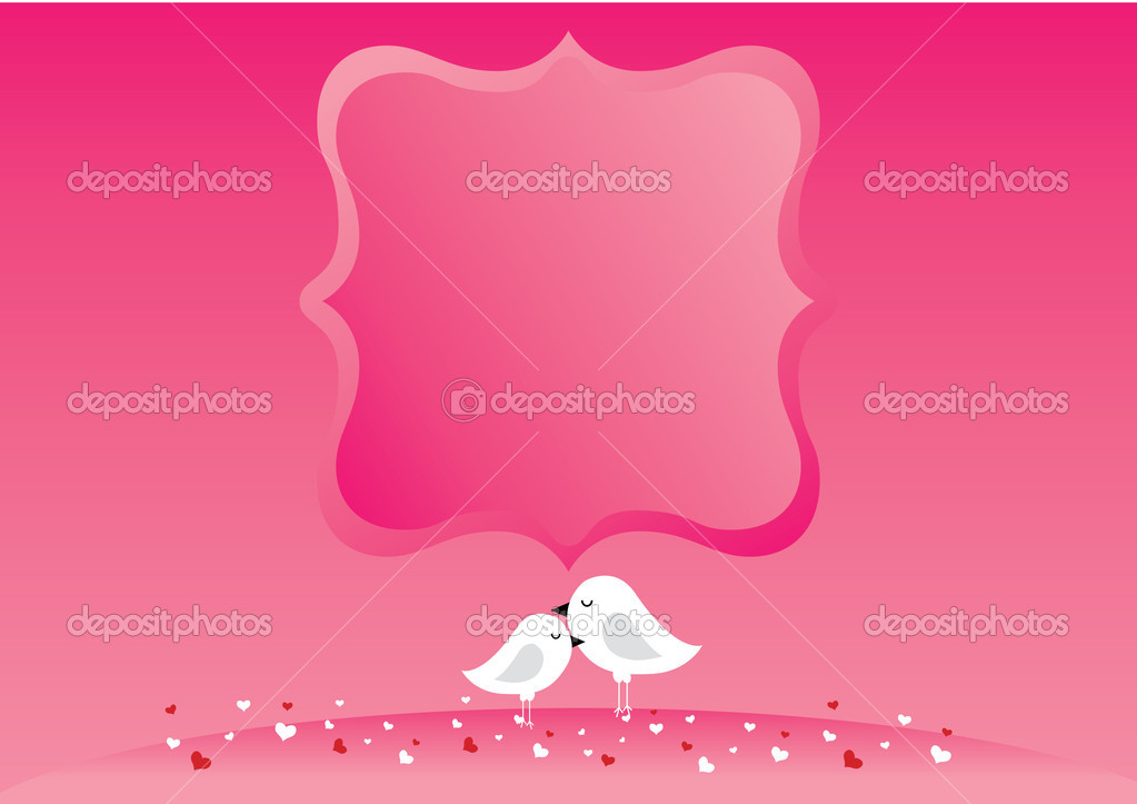 Two cute birds in love. . Vector illustration.  — Stock Vector #4776291