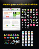 Web designers toolkit - Gold edition — ストックベクタ