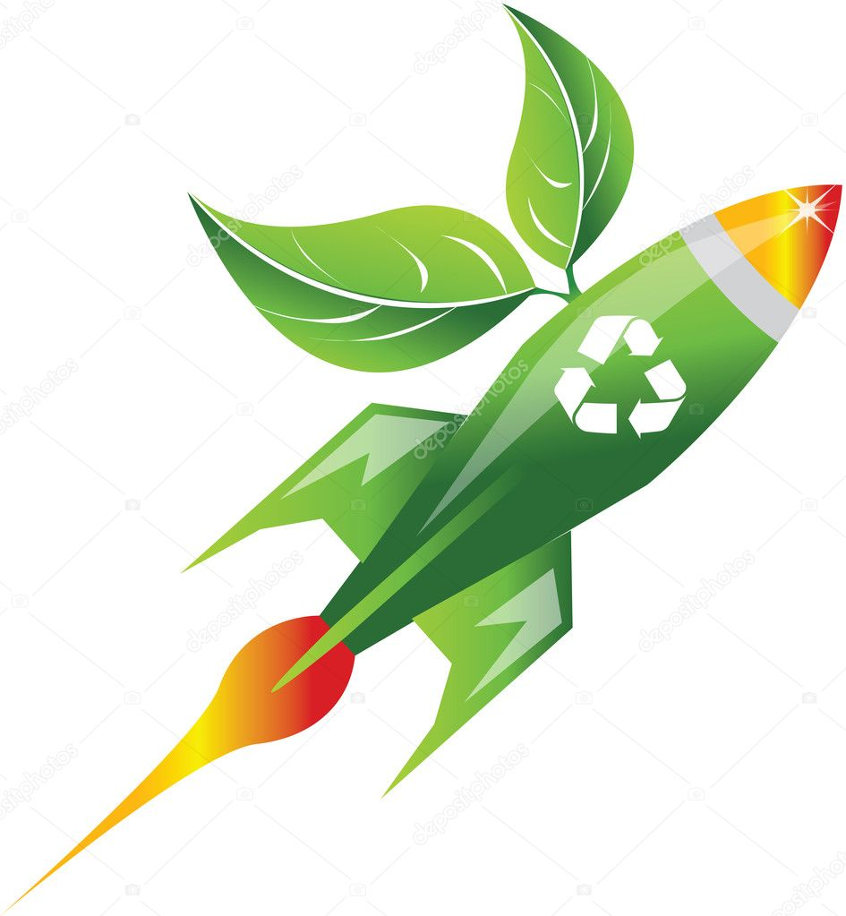 Rocket with recycling symbol — Stock Vector #4062977