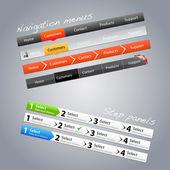 Navigation menus and step panels — Stock Vector