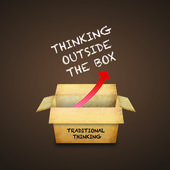 Thinking outside the box — 图库照片