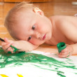 Foto Stock: Little girl looking for a drawing concept