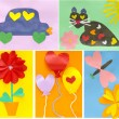 Ideas of creation of children's cards by the Valentine's day — ストック写真