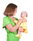 The woman holds the small child — Stock Photo