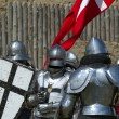 Medieval european knight near citadel wall — Stock Photo