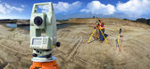 Theodolite survey outdoors — Stock Photo