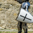 Medieval europeknight near citadel wall — Stock Photo #4305280