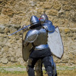 Medieval european knight near citadel wall - Stock Photo