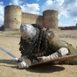 Stock Photo: Medieval warrior defeated lying inside fortress Belgorod Ukrai