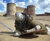 Medieval warrior defeated lying inside the fortress Belgorod Ukrai — Stock Photo