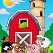 Big red barn with farm animals — ストック写真