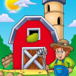 Stock Photo: Big red barn with farmer