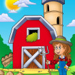 Stock Photo: Big red barn with farmer girl