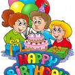 Birthday sign with happy family - Stock Photo