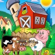Farm animals near barn - Stock Photo
