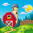 Meadow with big red barn — Stock Photo
