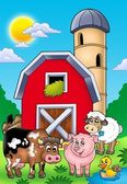 Big red barn with farm animals — Stock Photo