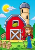 Big red barn with farmer girl — Stock Photo