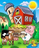 Boerderijdieren in de buurt van schuur — Stockfoto