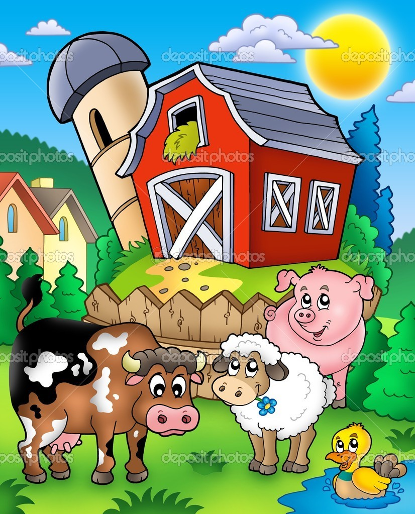 Farm animals near barn - color illustration.  Stockfoto #3947076