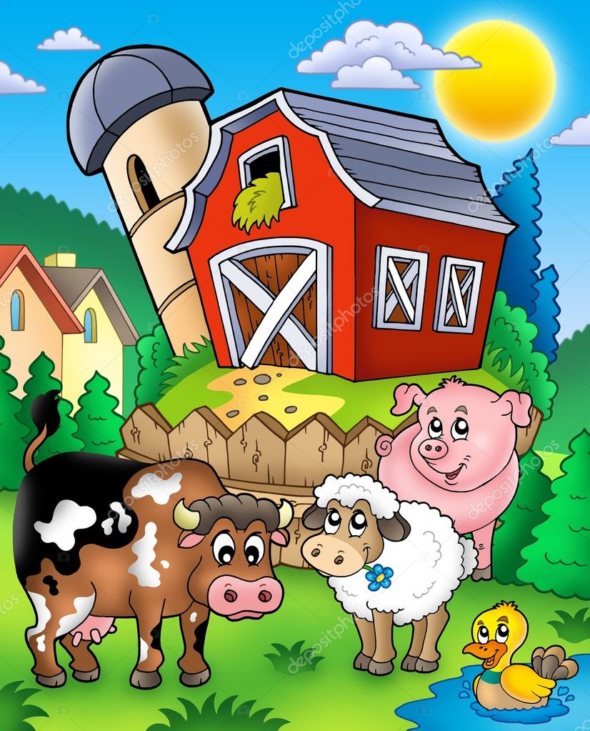 Farm animals near barn - color illustration. — Стоковая фотография #3947076