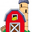 Stock Vector: Barn with granary