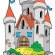 Cartoon castle with fortification — Stock Vector