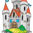 Stock Vector: Cartoon castle with fortification