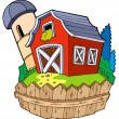 Cartoon red barn with fence — Stockvector #3946973