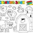 Coloring book with farm animals 1 — Stock Vector