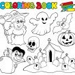 Coloring book with Halloween theme — Stock Vector