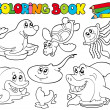 Coloring book with marine animals 1 - Stock Vector