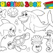 Stock Vector: Coloring book with marine animals 2